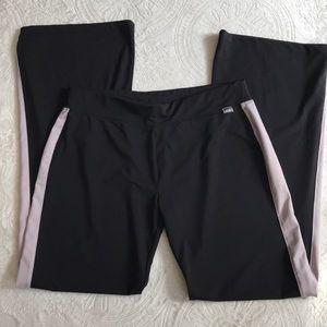 Avia long black w/ lavender stripe athlete pants L